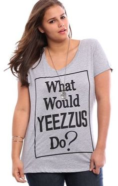 Deb Shops Plus Size High Low Tee with What Would Yeezus Do Screen $13.50