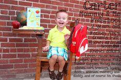 Preschool/back to school photo idea school photographi, school photos, preschool idea
