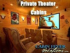 Click the pin to see all of the Cabin Fever Cabins that have Private Theater Rooms! #luxury #cabins