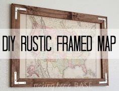 Vintage Map in a DIY Rustic Frame - cool look!