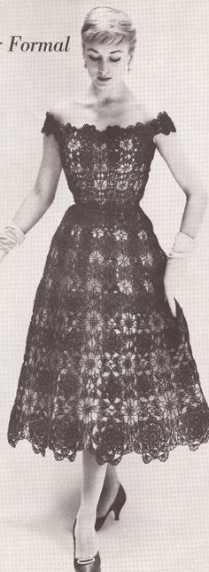 Google Image Result for http://www.plainsimpleinformation.com/pictures/WomensClothesPromo/SilkOrgandyPromo1.JPG dress patterns, evening dresses, pattern 1950s, lace formal, vintage crochet, crochet patterns, vintag crochet, evenings, crochet dress