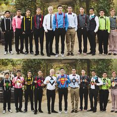 PROM IDEAS: the guys secretly decided on undercover superhero identities and wore the corresponding colors to match the shirts underneath and revealed them during this picture and it was perfect.