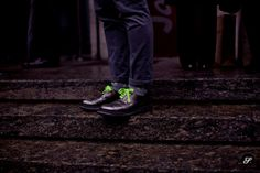 great idea neon shoelaces on dress shoes