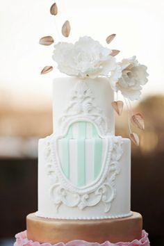 gold and mint wedding cake | Jessica Maida Photography | see more on http://burnettsboards.com/2014/02/stylized-bridal-portraits-pink-dress-matching-cake/