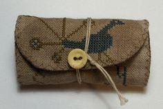 Primitive Cross Stitch Peacock Button Roll