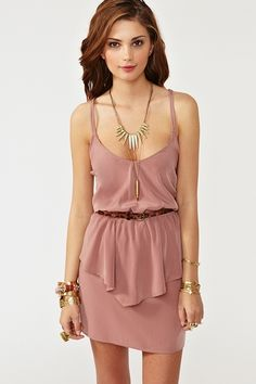 """""""Twisted Peplum Dress, Dusty Rose"""" at Nasty Gal. Amazing dusty rose dress featuring peplum detailing and twisted back. Deep v neckline, stretch panel at waist. Unlined. Price: $58"""