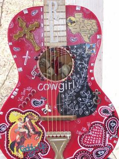 I want to learn to play guitar so I have a reason to decorate one like this  www.bodegasmezquita.com