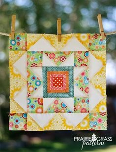 Summer Star quilt block - free pattern