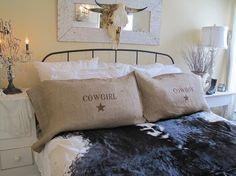 decorative pillows, burlap pillows, cowgirl cowboy, master bedrooms, cowboy pillowcas