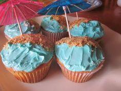 summer cupcakes, ocean cupcak, party cupcakes, ocean snacks, beach party, parti