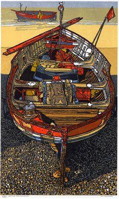 """Waiting for the Winch"" Linocut by H J Jackson http://www.birchamgallery.co.uk/catalogue/artist/H.J.:Jackson/biography/?category=prints. Tags: Linocut, Cut, Print, Linoleum, Lino, Carving, Block, Woodcut, Helen Elstone, Sea, Water, Boats, Fishermen, Reflection."