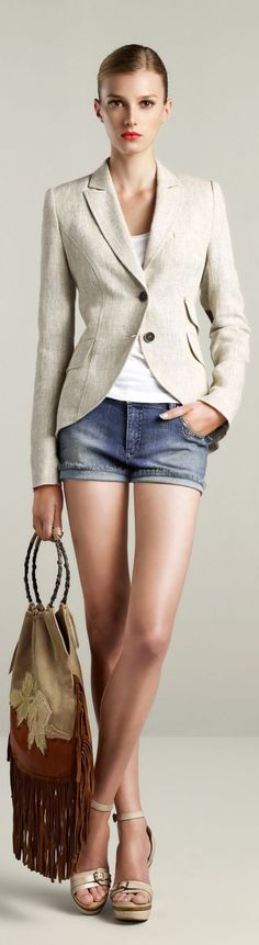 Sigrid Agren for OUI ♥✤ denim shorts and blazer