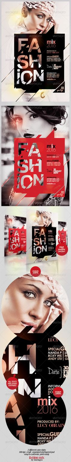 Fashion Mix Flyer Template / $6. *** This flyer is perfect for the promotion of Events, Club Parties, Musicals, Festivals, Shops/Boutiques, New Collections, Concerts, Promotions or Whatever You Want!***