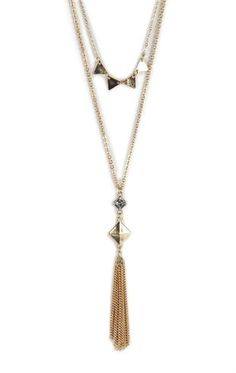 Deb Shops 2 Row Long Necklace with Triangle Studs and Tassel $5.00