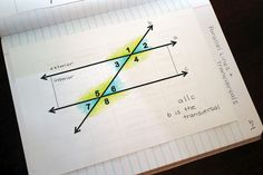 Parallel Lines & Transversals: math notebook page 1