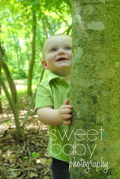 12 month old boy photo shoot, hug a tree, tree-hugger, one year photo idea, baby boy