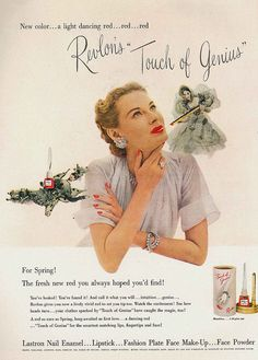 Revelon's Touch of Genius - The fresh new red you always hoped you'd find! #vintage #ad #makeup #cosmetics #1940s