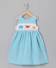 Take a look at this Blue Sea Friends Seersucker Dress - Infant, Toddler & Girls by Wish Upon a Star on #zulily today!