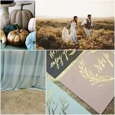 Pumpkin Spice, Golden Light, Frosted Blue, and Forage Brown Color Board