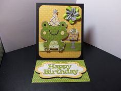 Cricut Frog Birthday Card. Create a Critter and Sweet Treat Cartridges.   *