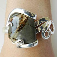 Septarian Silver Cuff Fork Bracelet OOAK