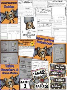 This bundle includes comprehension guides (Stellaluna by Janell Cannon, Bats by Gail Gibbons, & Magic School Bus Chapter Book #1: The Truth About Bats), crafts, a bat glyph, informative writing, fiction and nonfiction reading response sheets, supplemental interactive notebook pages specific to informational texts about bats, language arts activities, math charts and number grid activities, and SO MUCH MORE!!
