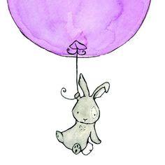 Bunny Balloon in Lavender 8X10 Nursery Art by trafalgarssquare, $20.00