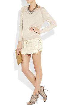Haute Hippie laser cut silk-chiffon mini skirt.