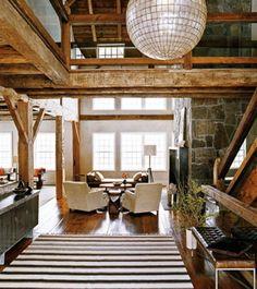 interior design, disco ball, living rooms, modern rustic, rustic design, beam, barn living, barn conversions, barn homes