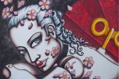 Doll print 12x18 Geisha  unstretched canvas by ShayneoftheDead, $50.00