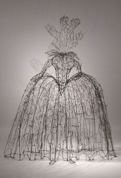"""Word Queen of Poetry,"" 2007, Wire & steel, 74 x 59 x 22 in, by Lesley Dill"