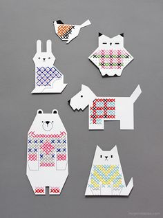 Animal Cross Stitch for Kids - Mr Printables  The printable marks the spots but the pattern is left up to the stitcher.