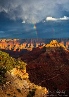 Double Rainbow Over Vishnu Temple, Grand Canyon National Park; photo by .Raven Mountain Images