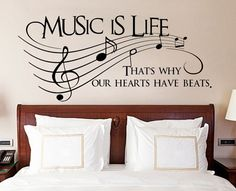 Music Is Life That's Why Our Hearts Have Beats Words Text Quote Vinyl Wall Sticker
