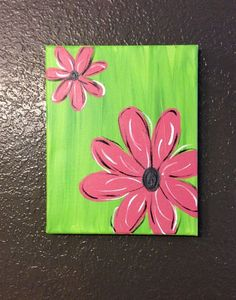Pink or Purple Flower Canvas Painting on Etsy, $18.00