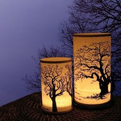 Two Shoji Candle Lantern Large Tree and standard by earthsteps