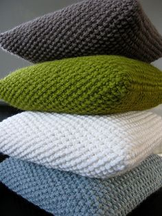 moss stitch knit pillows