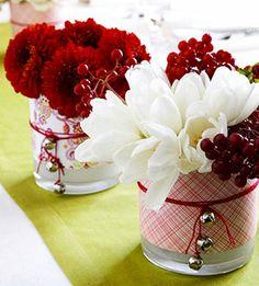 Mini Christmas Vases for Mantle