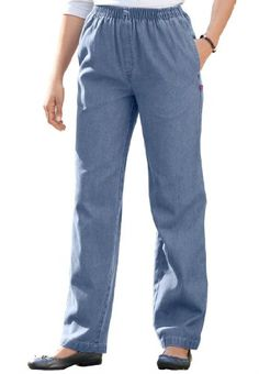 Possibly the most comfortable jean you'll ever own, our pull-on elastic-waist mock-fly jean is offered in petite and is versatile enough to fit every body! In more colors than you can imagine and at a price you won't believe, this is the petite jean you'll want in multiples! You'll wear it from the office to the restaurant, from the grocery to the mall. And talk about a great fit: the elastic waist moves with you all day long without binding or tugging, providing true-to-you