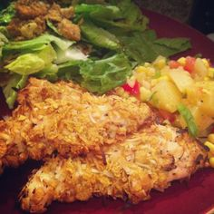 Baked Coconut Crusted Chicken with Tropical Salsa - Great Summer Recipe