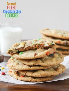 Caramel Filled Chocolate Chip Cookies - my new favorite way to make chocolate chip cookies!  One secret ingredient makes them super simple to whip up :)