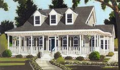 Country House Plans with Wrap Around Porch 033-00057