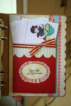 mini album, recip book, scrapbook recip, recip scrapbook, vintage recipes