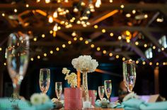 Gorgeous shot of centerpieces at Happy Days Lodge.  Photo Courtesy of Ben and Jodi Photography
