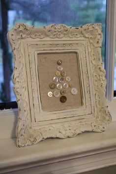 Shabby Chic Christmas Tree keep hold of frames and buttons, any plain fabric too