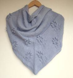 Hand knitted Grey Blue Triangle Scarf by PureCraft on Etsy, £70.00