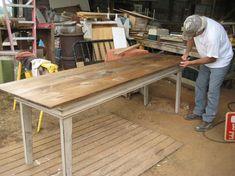 Primitive Style Farm Table in Distressed Cream- Custom  $350