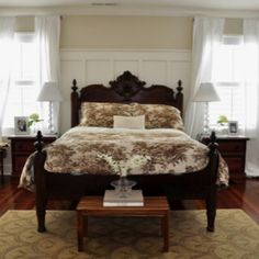 floor, wainscoting, toile, bedroom colors, old houses, antique beds, master bedrooms, moldings, guest rooms