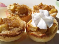 Apple Mini Tarts from Food.com:   My 4 year-old son and I went to a Mommy and Me cooking class, and this is one of the recipes we made together.  Great for kids, and fun to make!