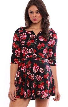 Deb Shops Floral Print Skater Skirt